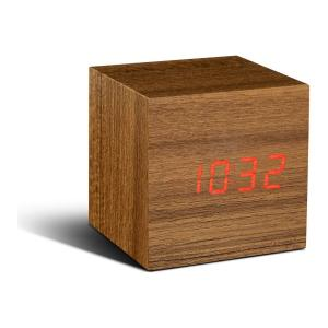 Réveil Cube Teck Click Clock GINGKO